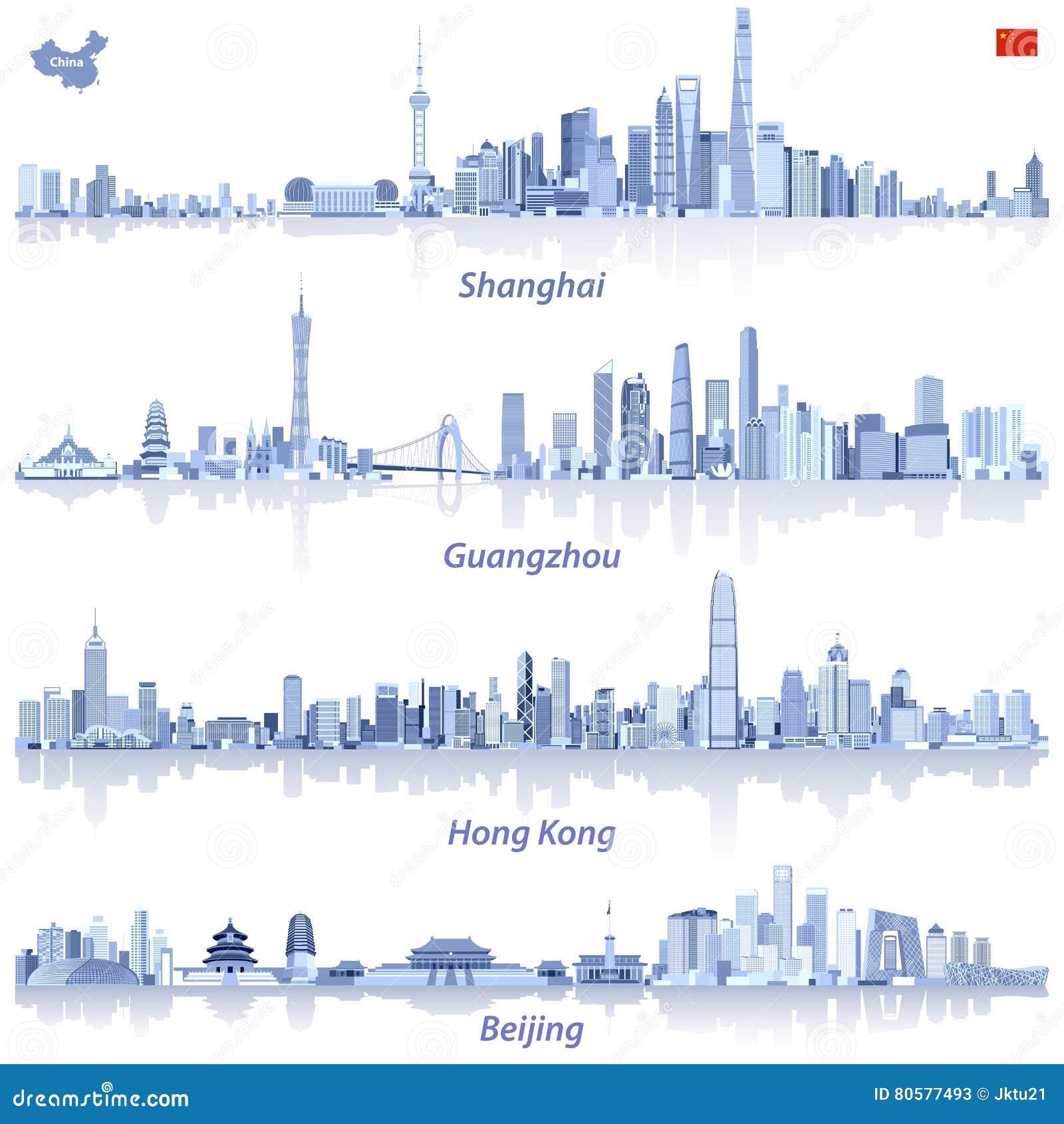 Karte China Hong Kong.Abstrakte Vektorillustrationen Von Shanghai Hong Kong Guangzhou