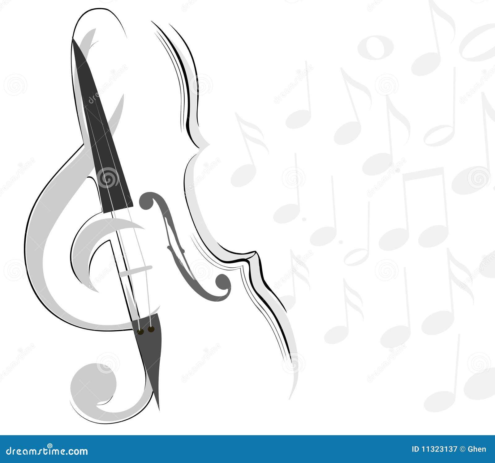 Abstrakte Violine und Schlüsselzeilen