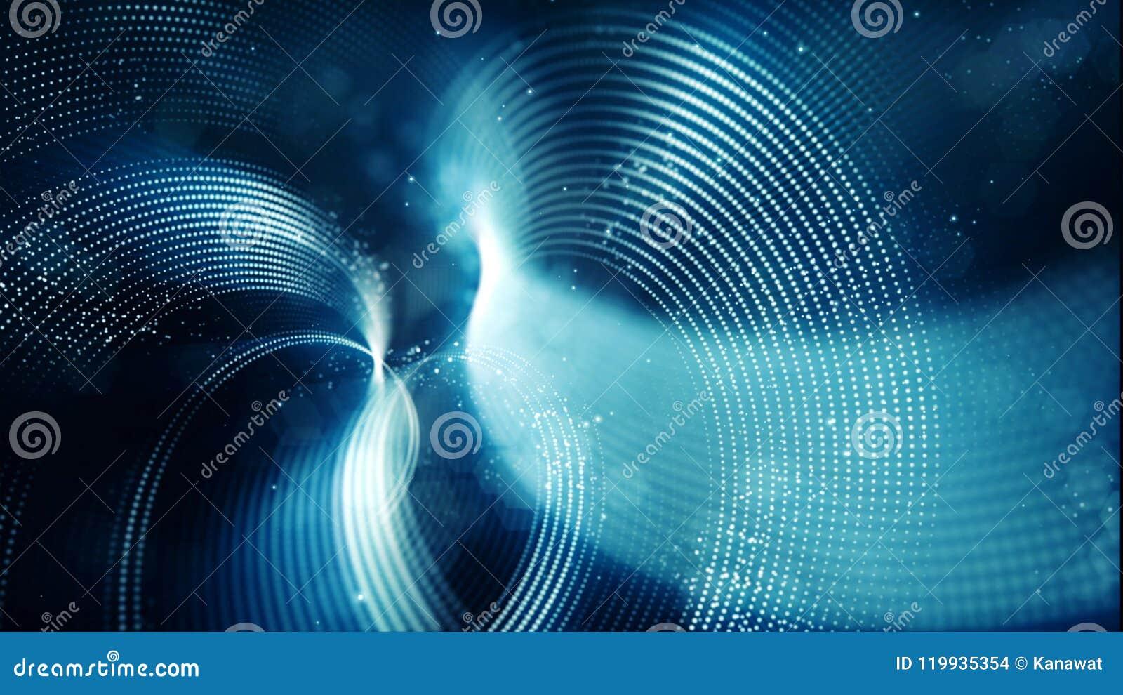 Abstrakte Welle mit Punkten und Linie blauer Farbhintergrund