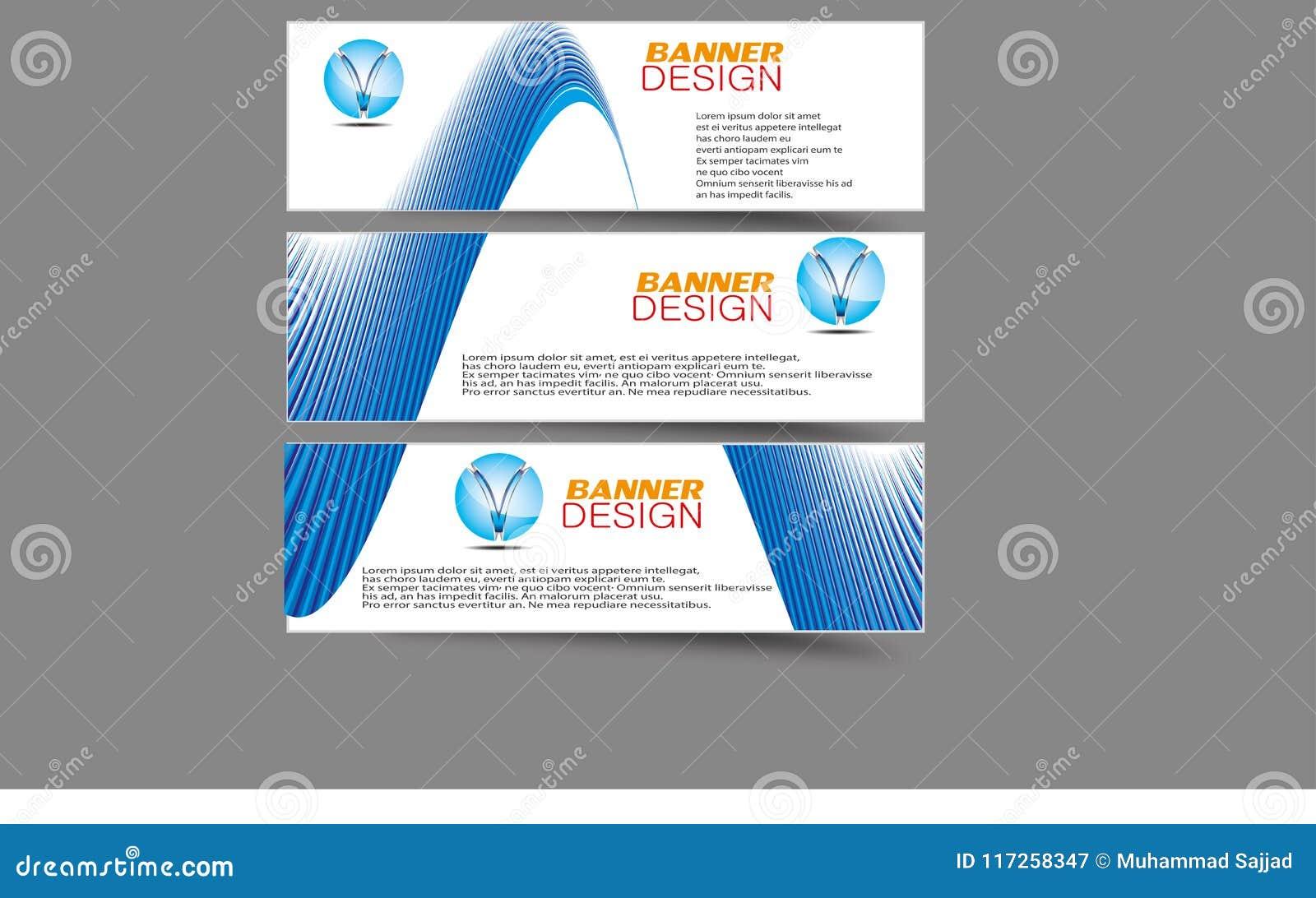Abstrakte Wellen-Curvy Fahnen-Titel benutzt für Förderung auf Website und anderen
