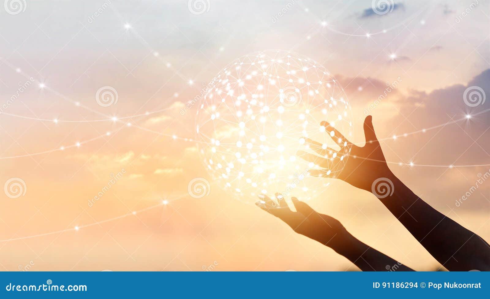 Abstrakte Wissenschaft, Verbindung des Kreisglobalen netzwerks in den Händen