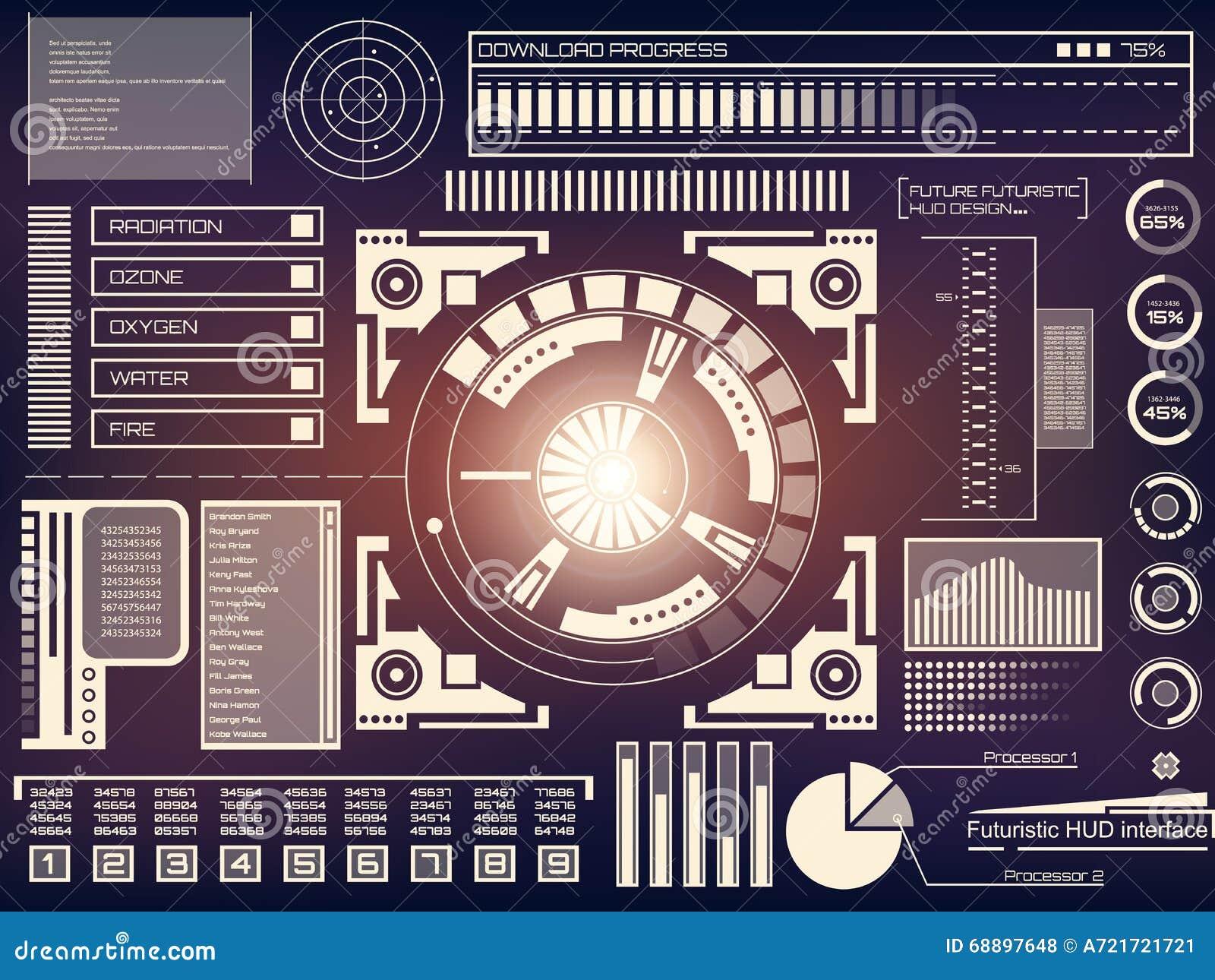 Abstrakte Zukunft, Noten-Benutzerschnittstelle HUD Des ...