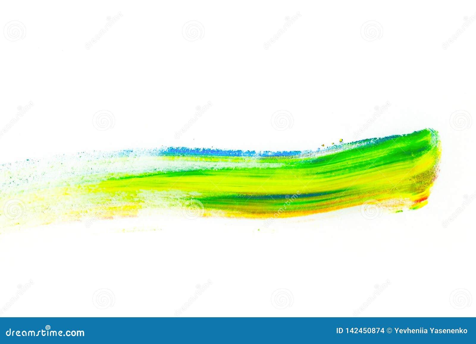 Abstrakter Abstrich mit dem Finger hergestellt vom mehrfarbigen Pigment, lokalisiert auf Weiß Gemischter heller Lidschatten Natür