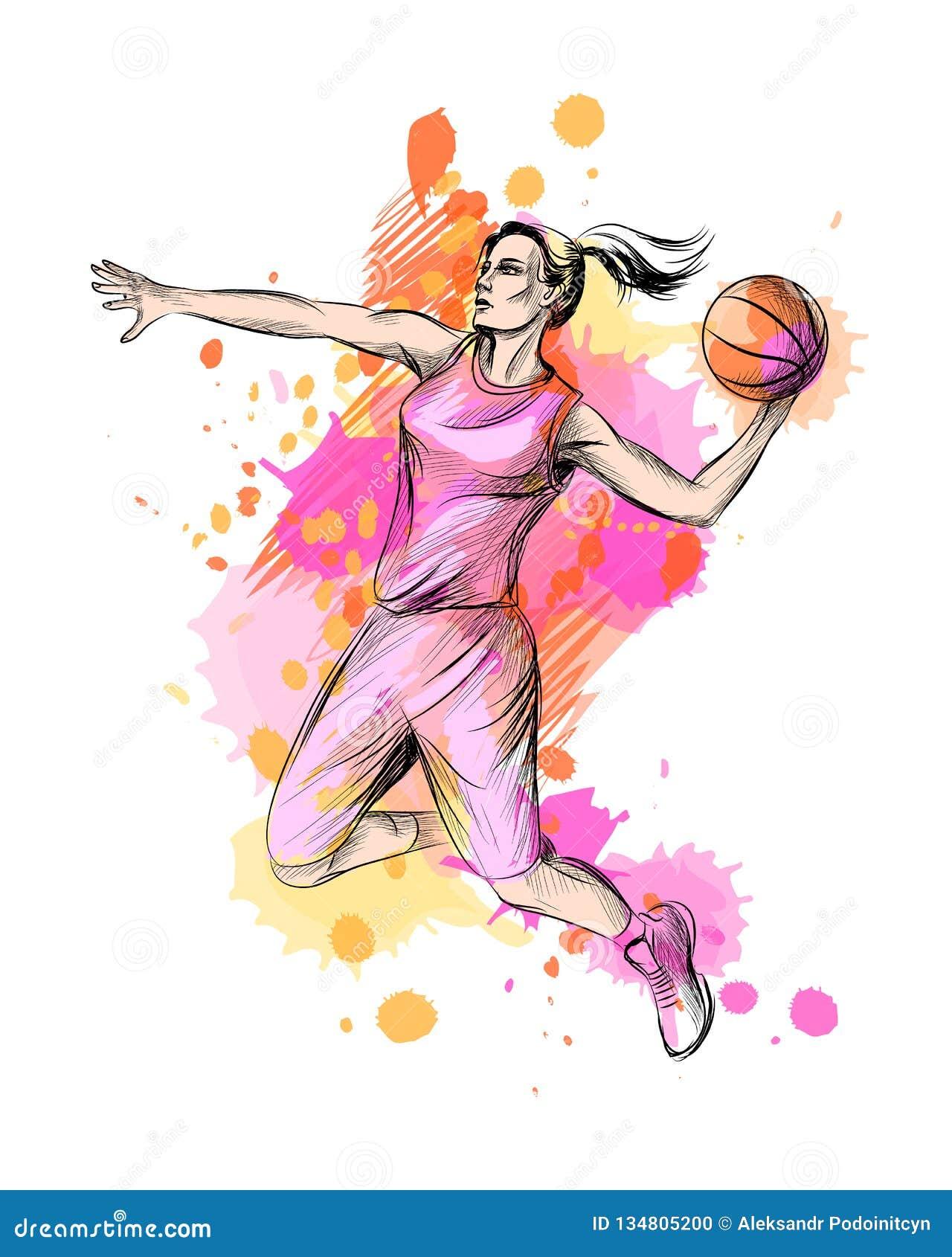 Abstrakter Basketball-Spieler mit Ball von einem Spritzen des Aquarells