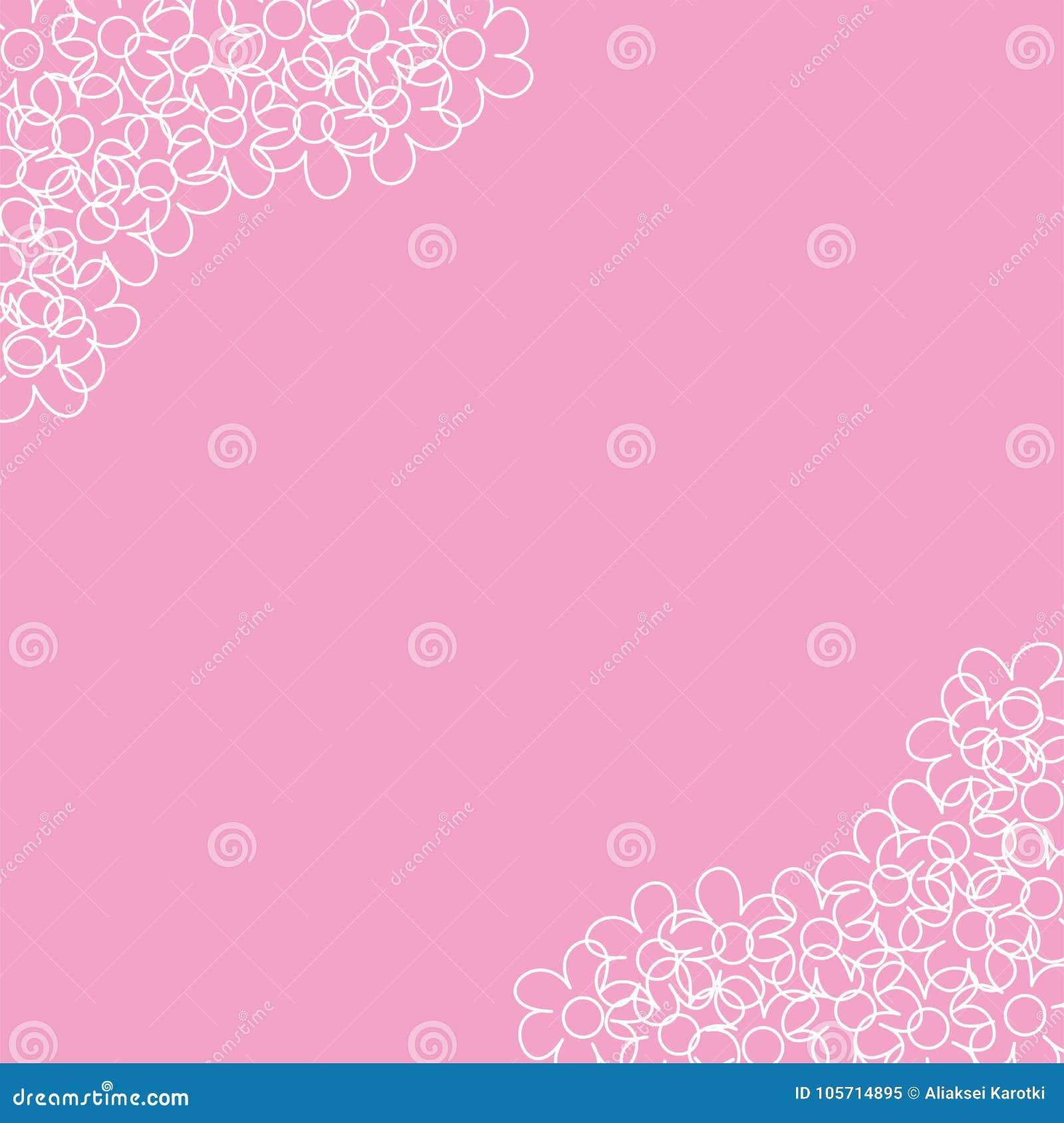 Abstrakter Blumenrahmen Auf Einem Rosa Hintergrund Fur Drucke