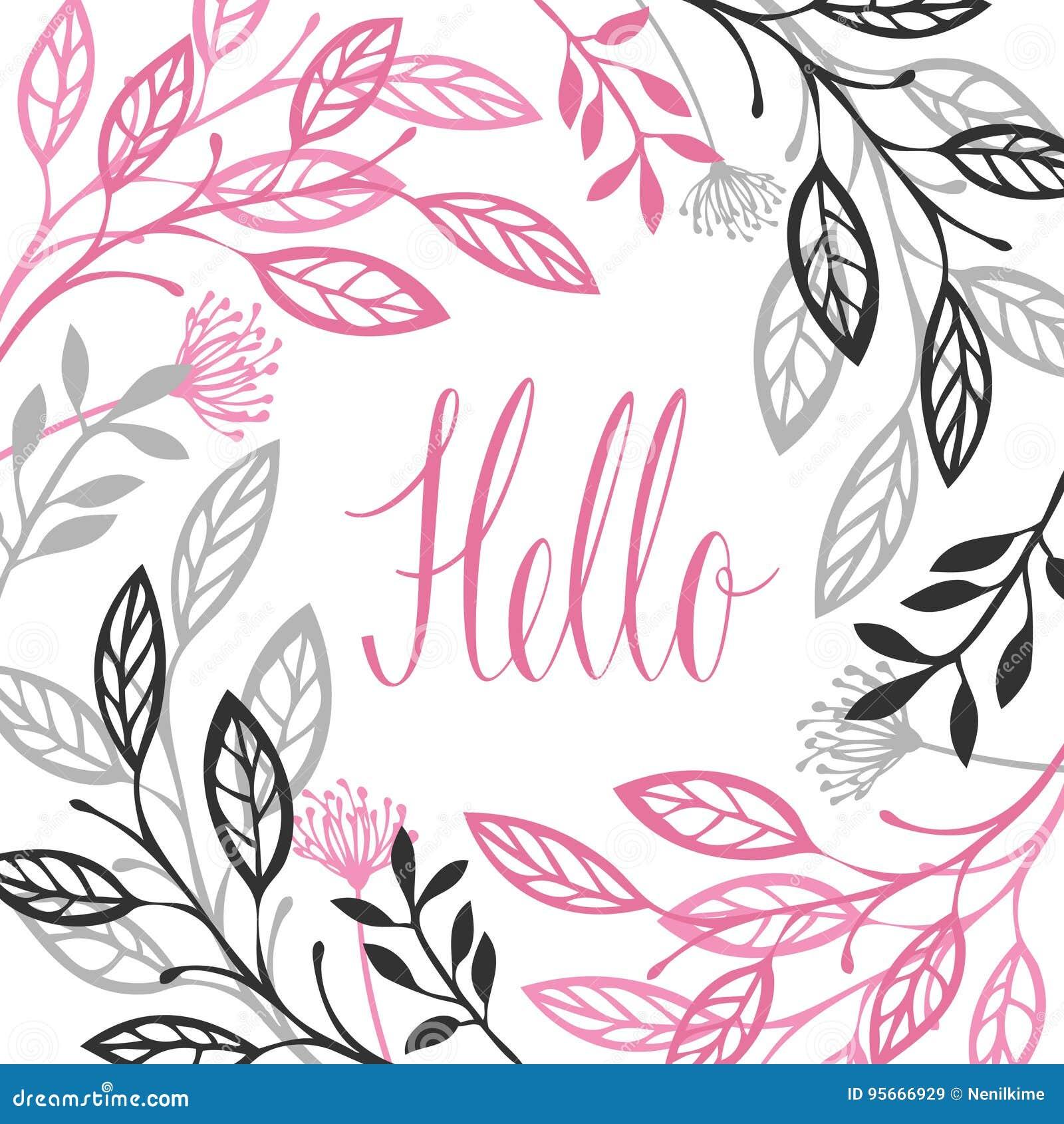 Abstrakter Blumenrahmen graues und rosa Farbehallo Kalligraphie lett