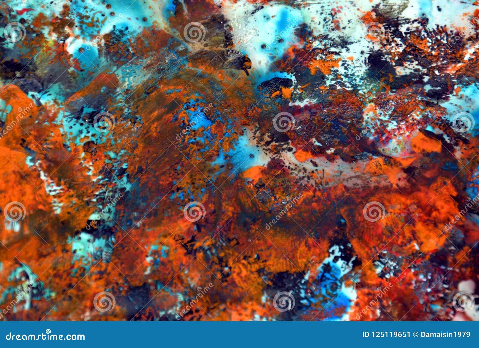 Abstrakter dunkelorangefarbiger blauer Farbenhintergrund, malender Aquarellhintergrund, malende abstrakte Farben