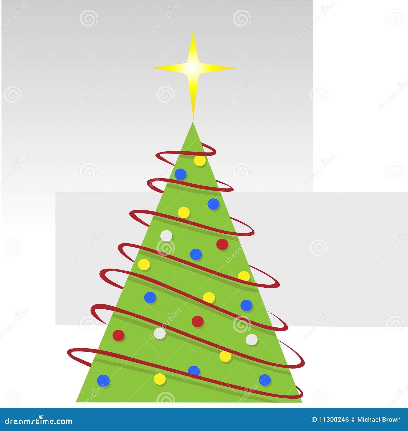 Abstrakter fröhlicher Weihnachtsbaum mit roten Girlanden