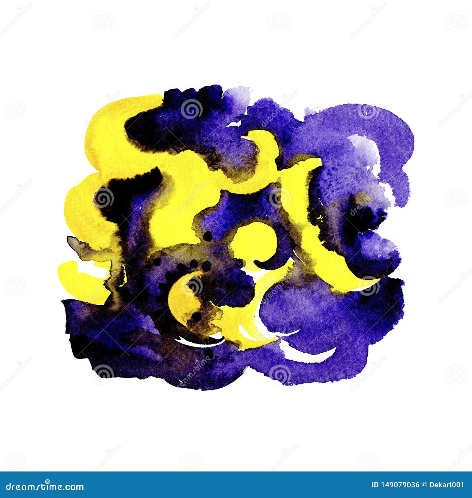 Abstrakter gelber und violetter Bürstenanschlag-Aquarellhintergrund