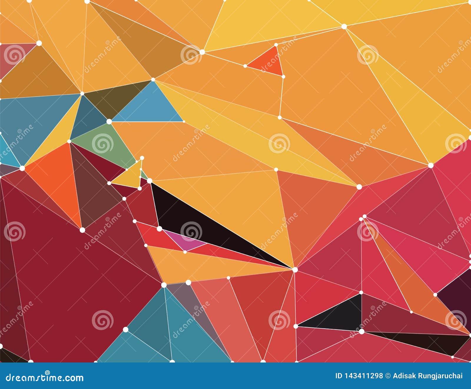 Abstrakter geometrischer Hintergrund mit hellen Farben, wenn die Polygone der Zukunft, mit Polygonverbindungslinien gefaltet sind