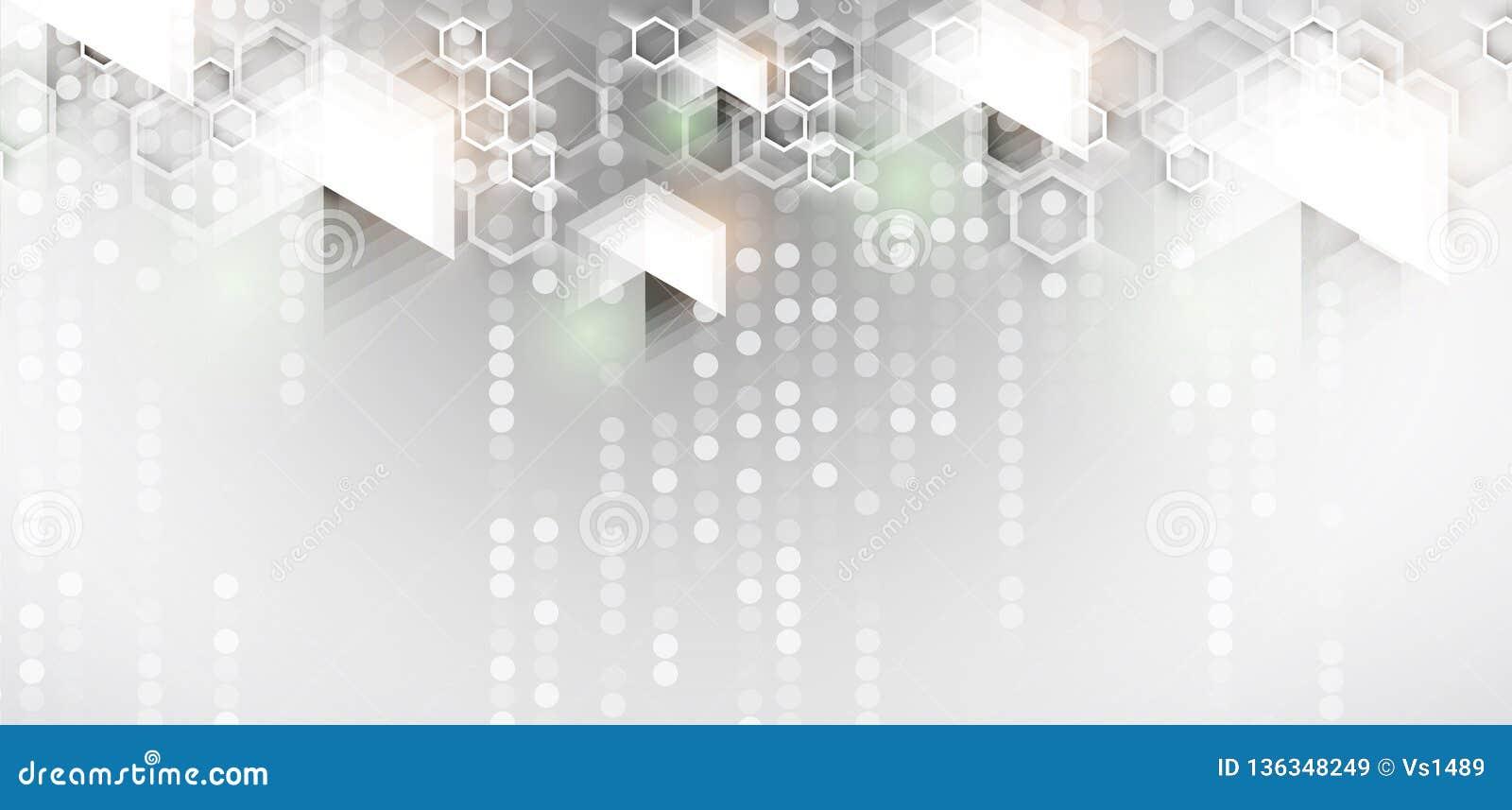 Abstrakter Hexagonhintergrund Technologie poligonal Entwurf Futuristischer Minimalismus Digital