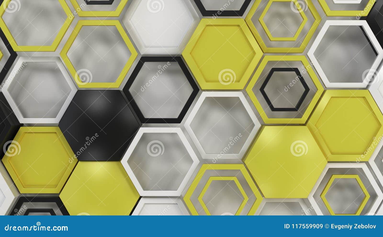 Abstrakter Hintergrund 3d gemacht von den schwarzen, weißen und gelben Hexagonen auf weißem Hintergrund