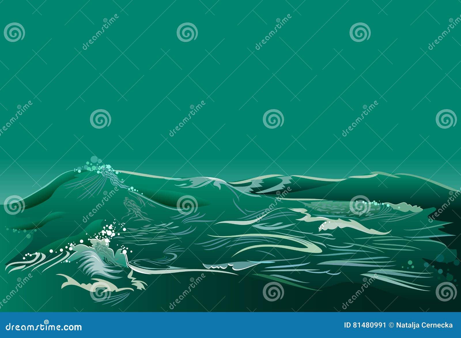 Abstrakter Hintergrund Der Fantasie Mit Meerblick Und Grünen Wellen ...