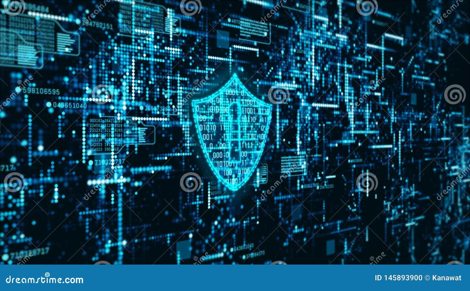 Abstrakter Hintergrund der High-Techen Informationen der Digitaltechnikinternetsicherheitsanzeige ganz eigenh?ndig geschrieben