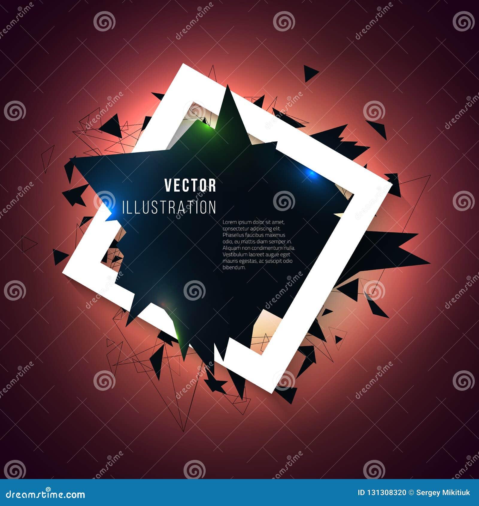 Abstrakter Hintergrund mit Dreieckexplosion Feld mit Effekt 3d