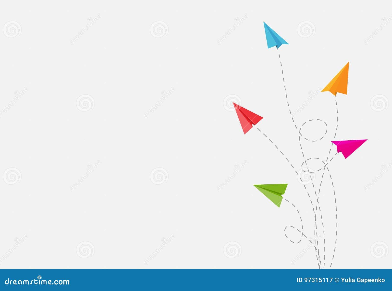 Abstrakter Hintergrund mit Papierflugzeug-ändernder Richtungs-Vektor-Illustration