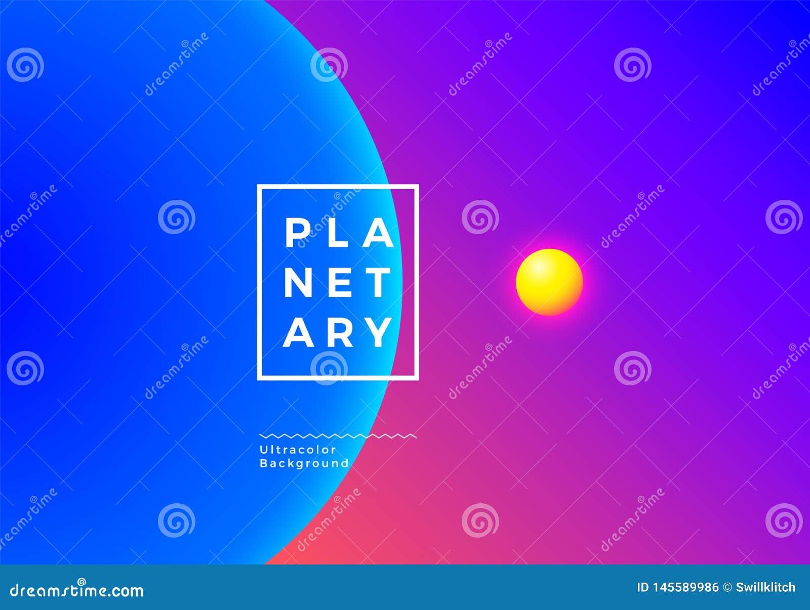 Abstrakter Hintergrund mit Planeten im Raum mit ultra vibrierenden Farben