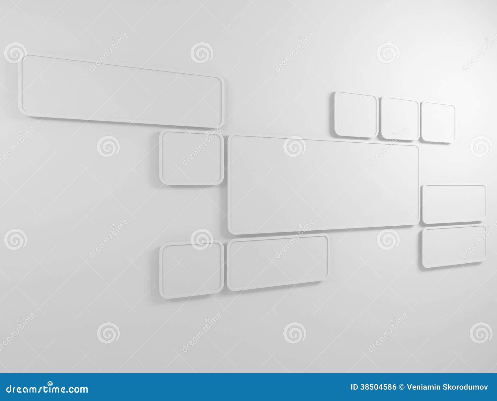 Abstrakter Hintergrund. Rechteckige Rahmen Auf Der Wand. 3D ...