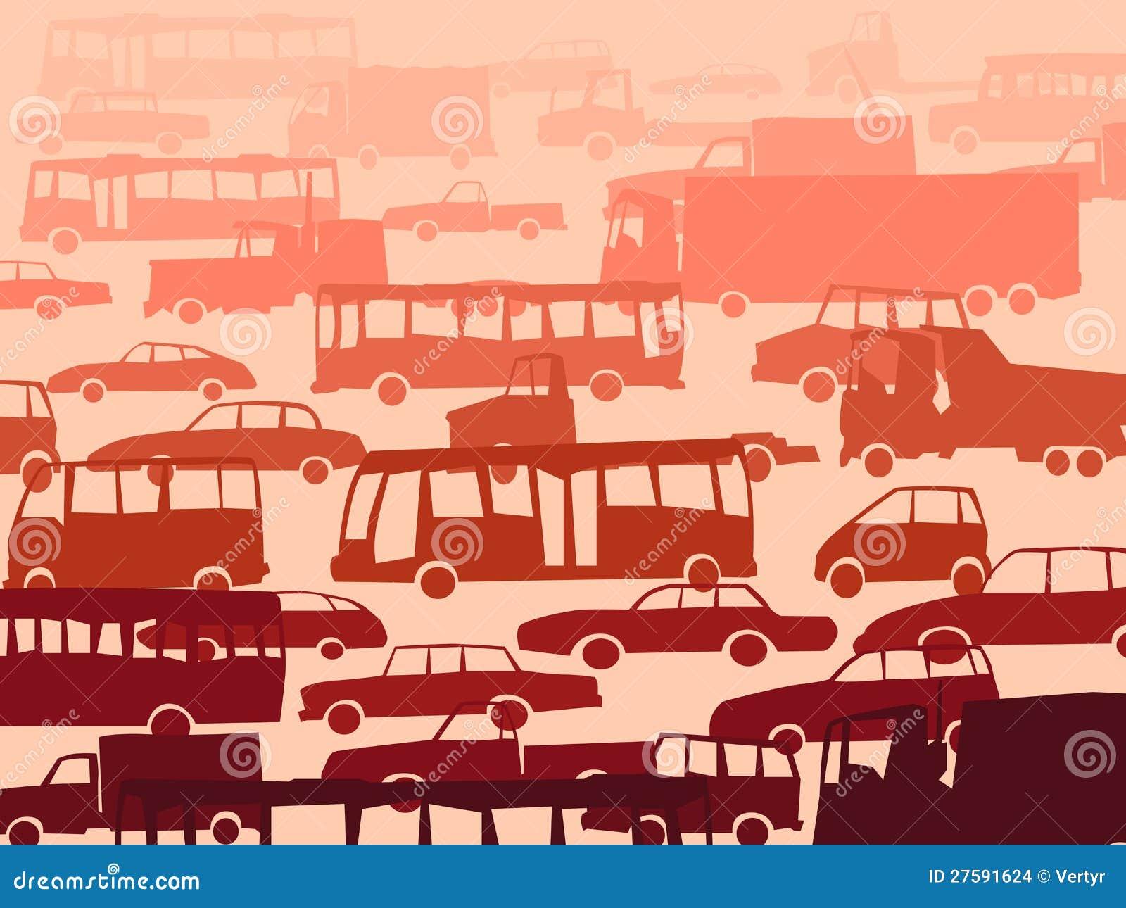 Abstrakter Karikaturhintergrund mit vielen Autos.