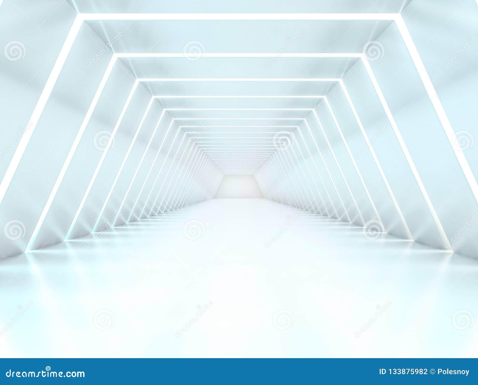 Abstrakter moderner Architekturhintergrund, leerer Innenraum des offenen Raumes 3d