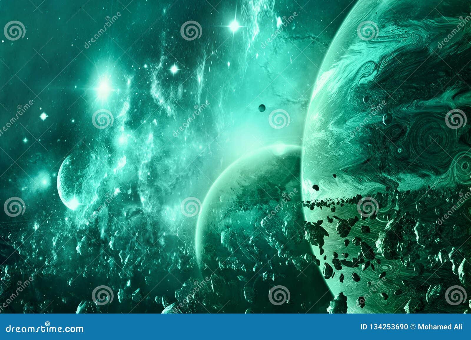 Abstrakter Planeten-Horizont und es sind Mond auf Surrounded durch Asteroiden in einem Galaxie-Hintergrund