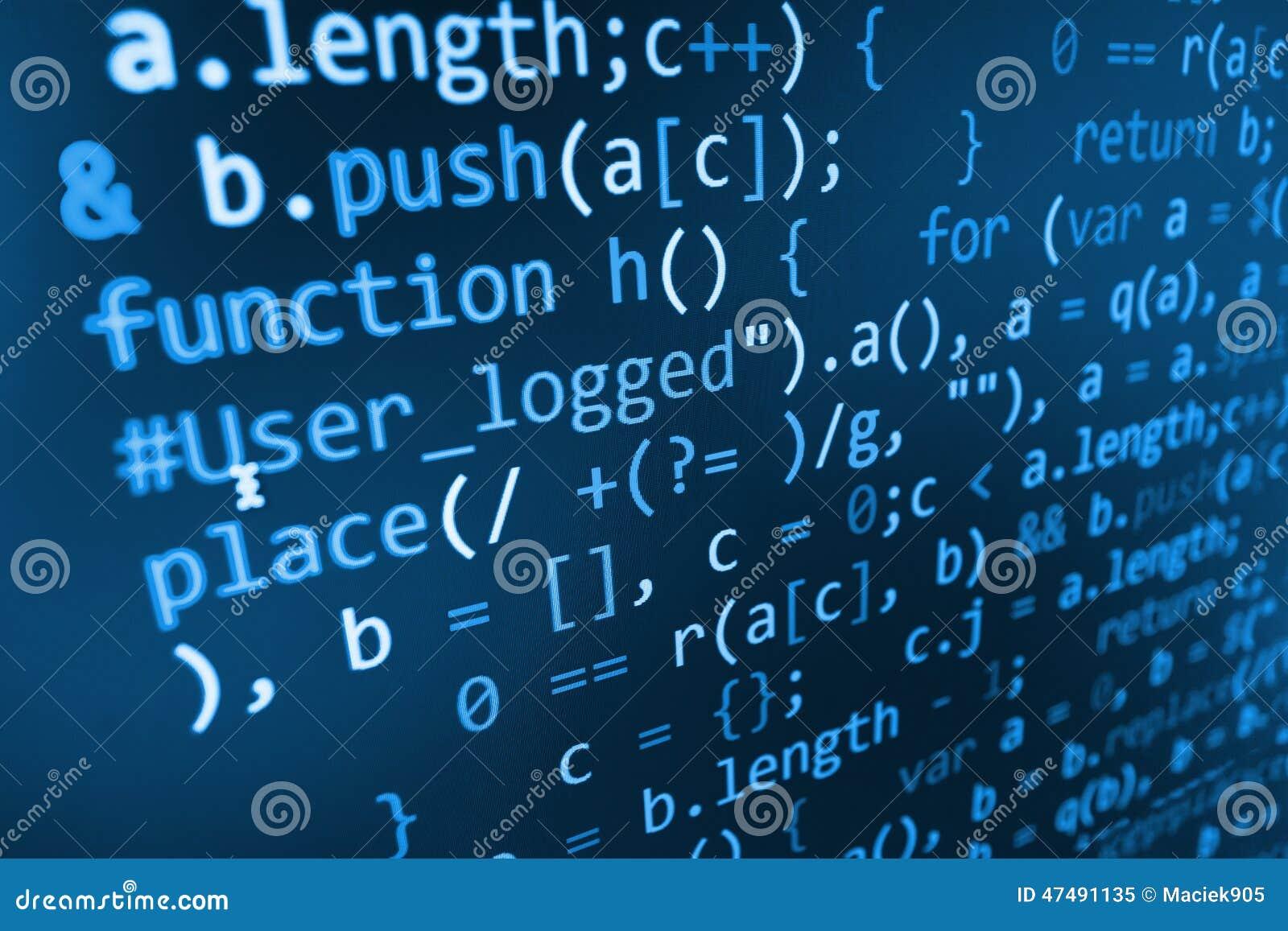Abstrakter Schirm des Programmiercodes des Softwareentwicklers
