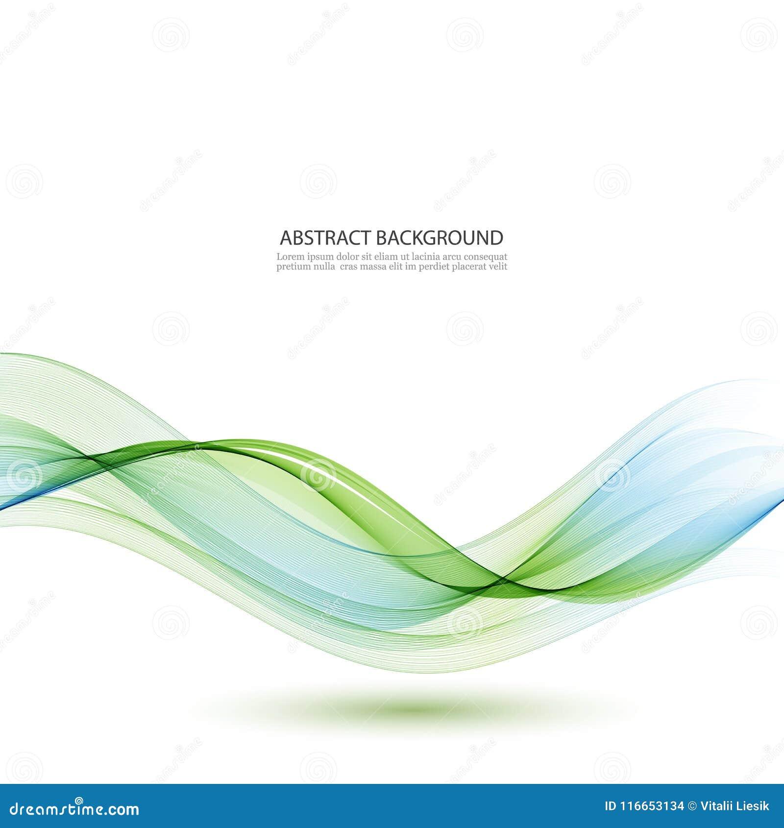 Abstrakter Vektorhintergrund, -BLAU und -GRÜN bewegten Linien für Broschüre, Website, Fliegerdesign wellenartig