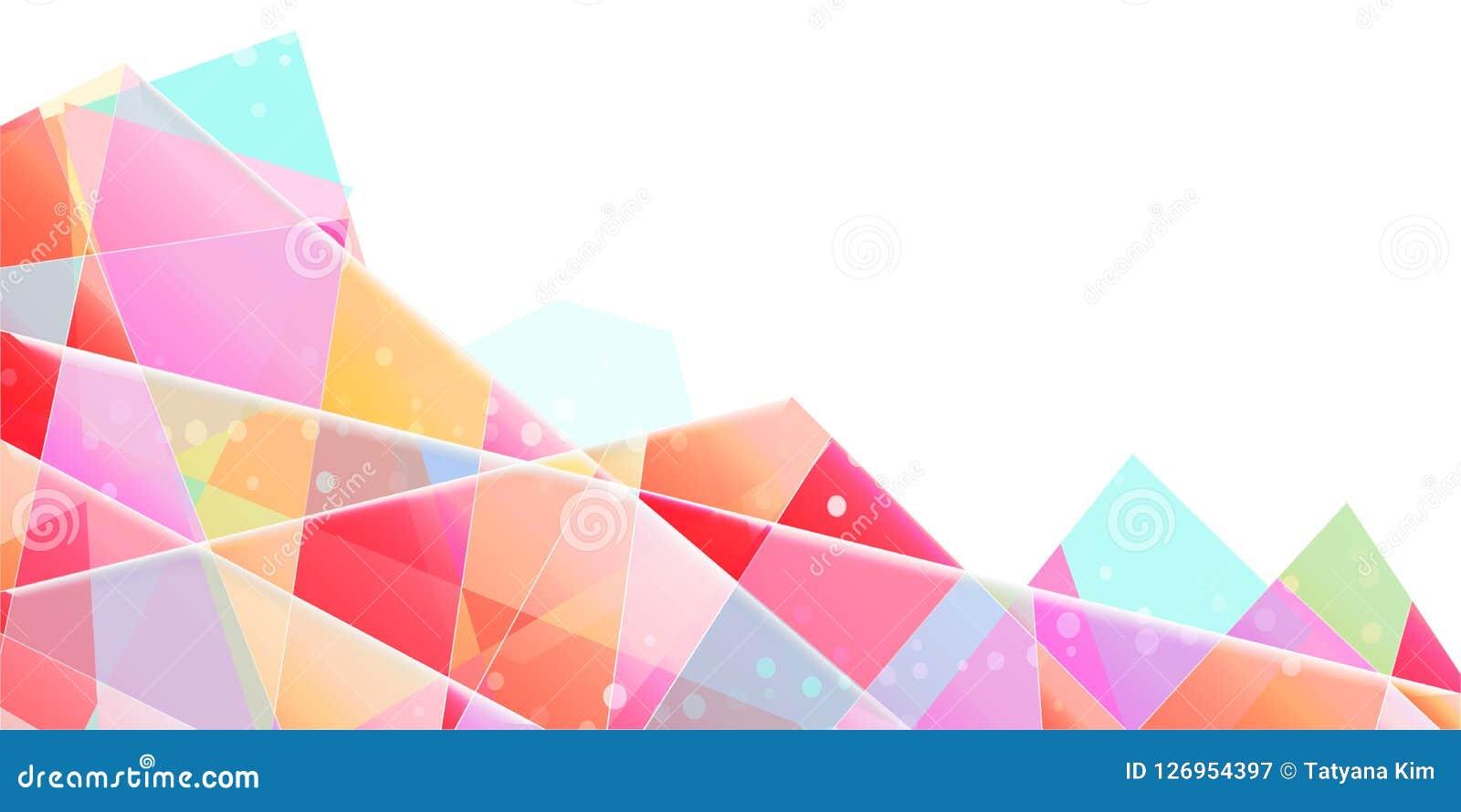 Abstrakter Vektorhintergrund, lichtdurchlässige dreieckige Splitter mit Steigung
