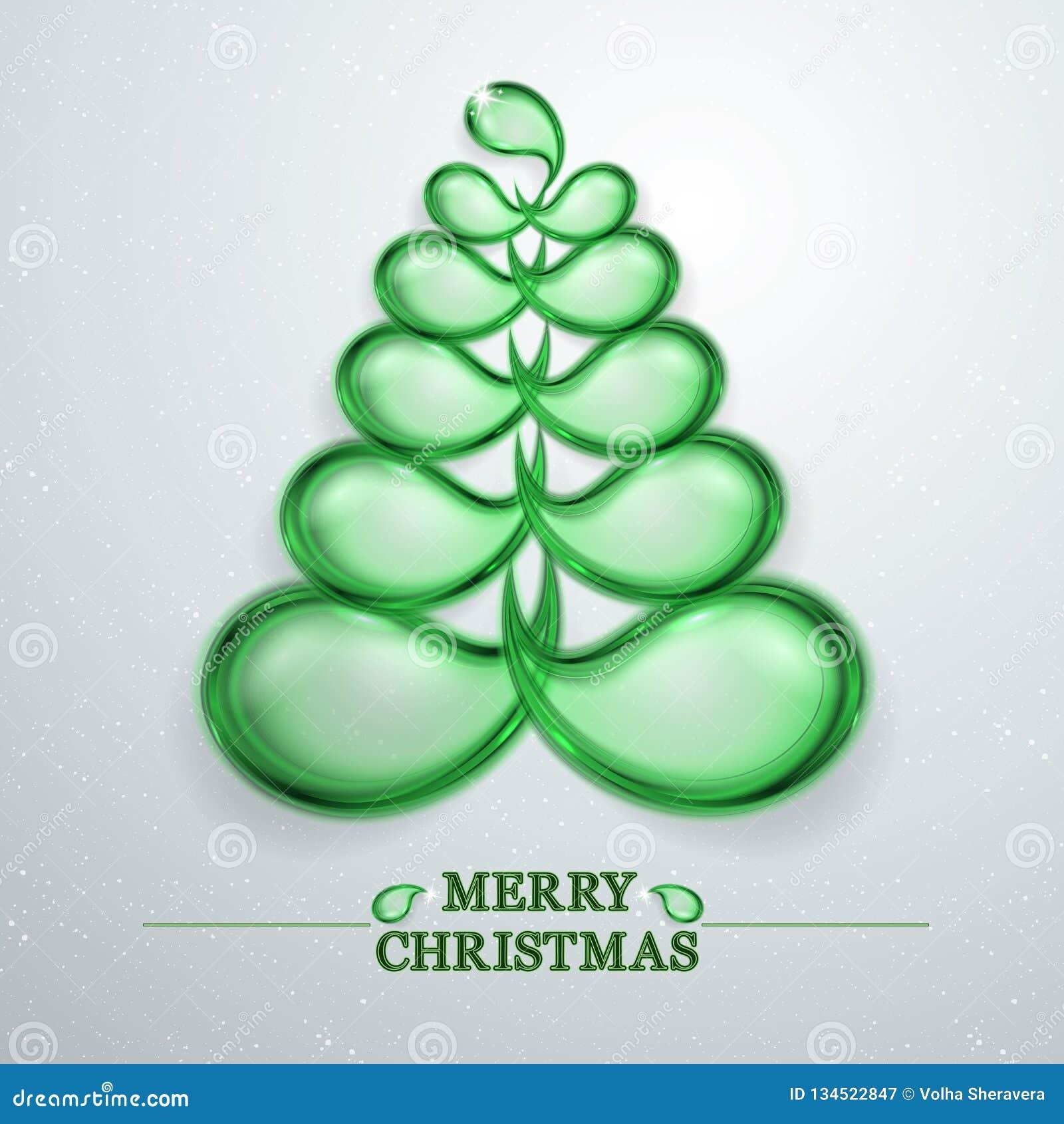 Abstrakter Weihnachtsbaum Glas- und erleichterter Weihnachtsbaum Baumvektor des Grüns 3D der frohen Weihnachten stilvoller