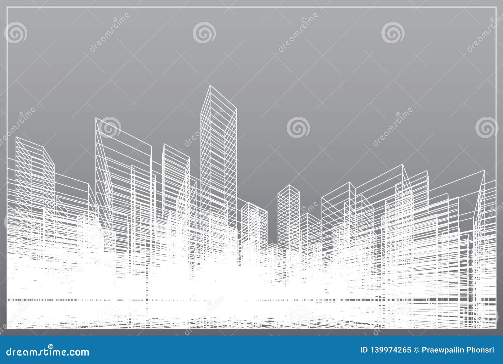 Abstrakter wireframe Stadthintergrund Perspektive 3D übertragen von Gebäude wireframe Vektor
