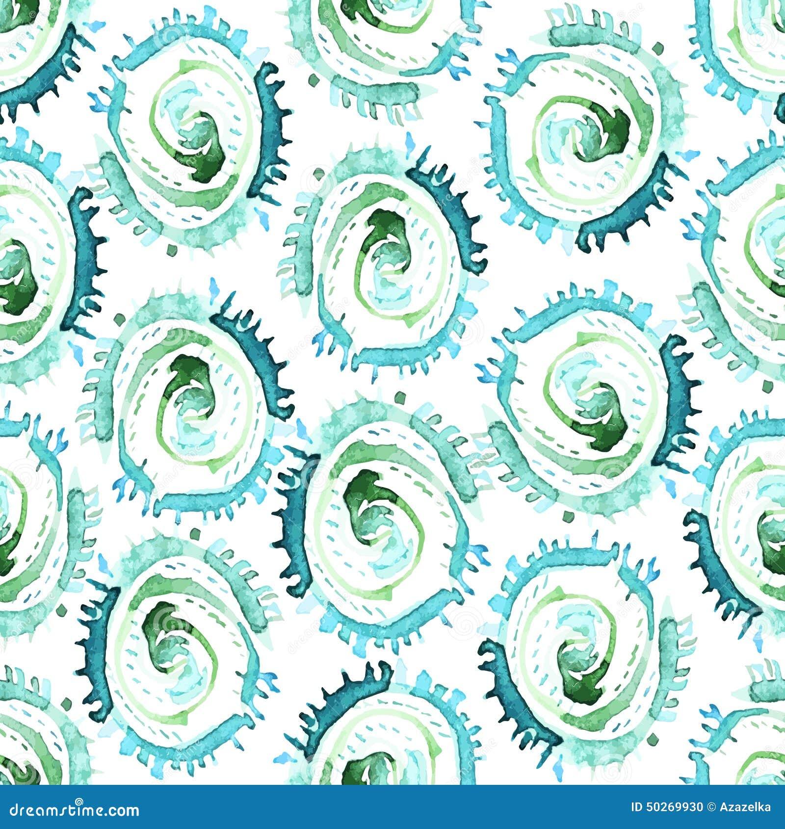 Abstraktes Aquarell des Vektors wirbelt nahtloses Muster Blauer Kreisfliesenhintergrund