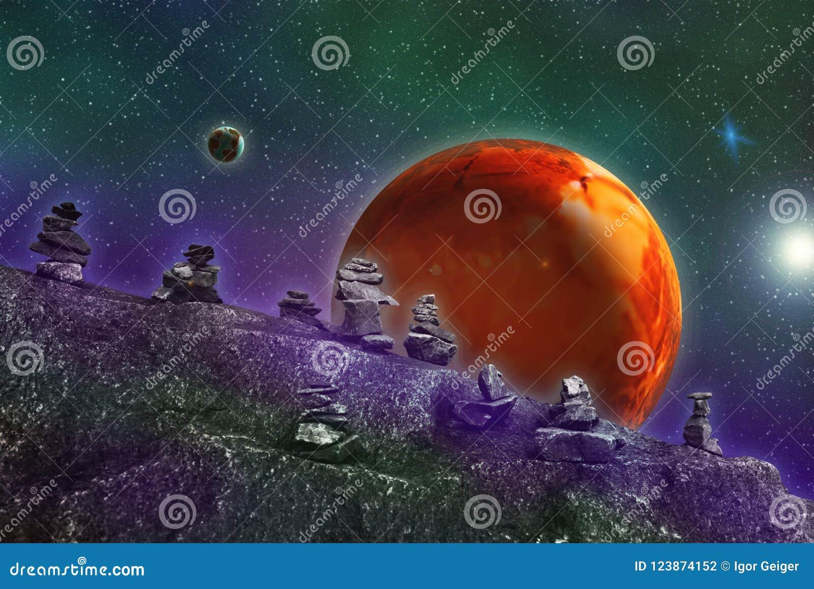 Abstraktes Bild eines parallelen Universums, Ansicht von einem unbekannten ston