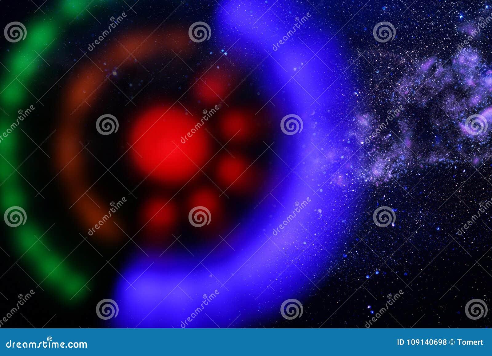 Abstraktes Bildraumschiff-UFO im Konzept des nächtlichen Himmels und der Astrologie