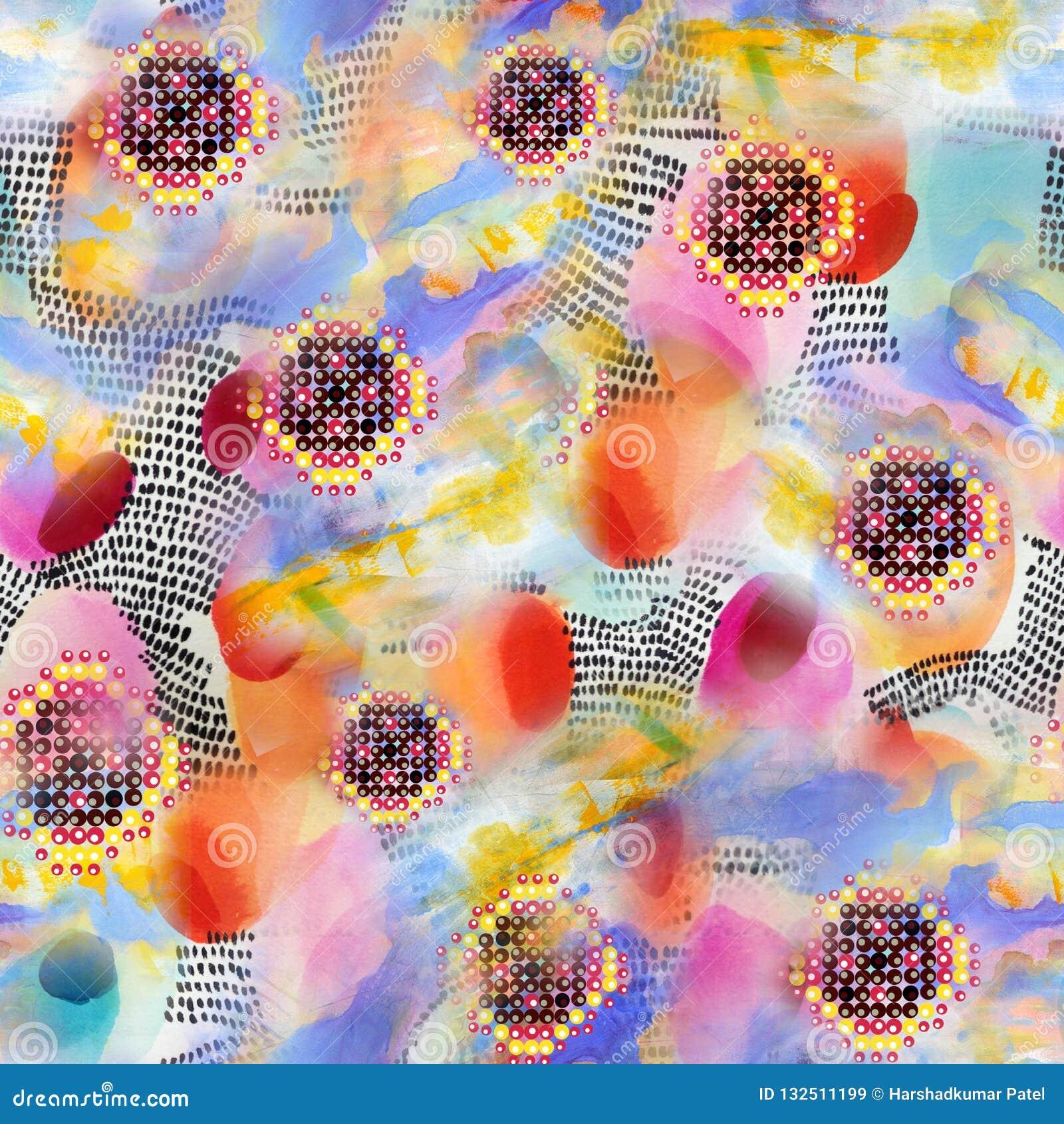 Abstraktes buntes Blockdruckmuster