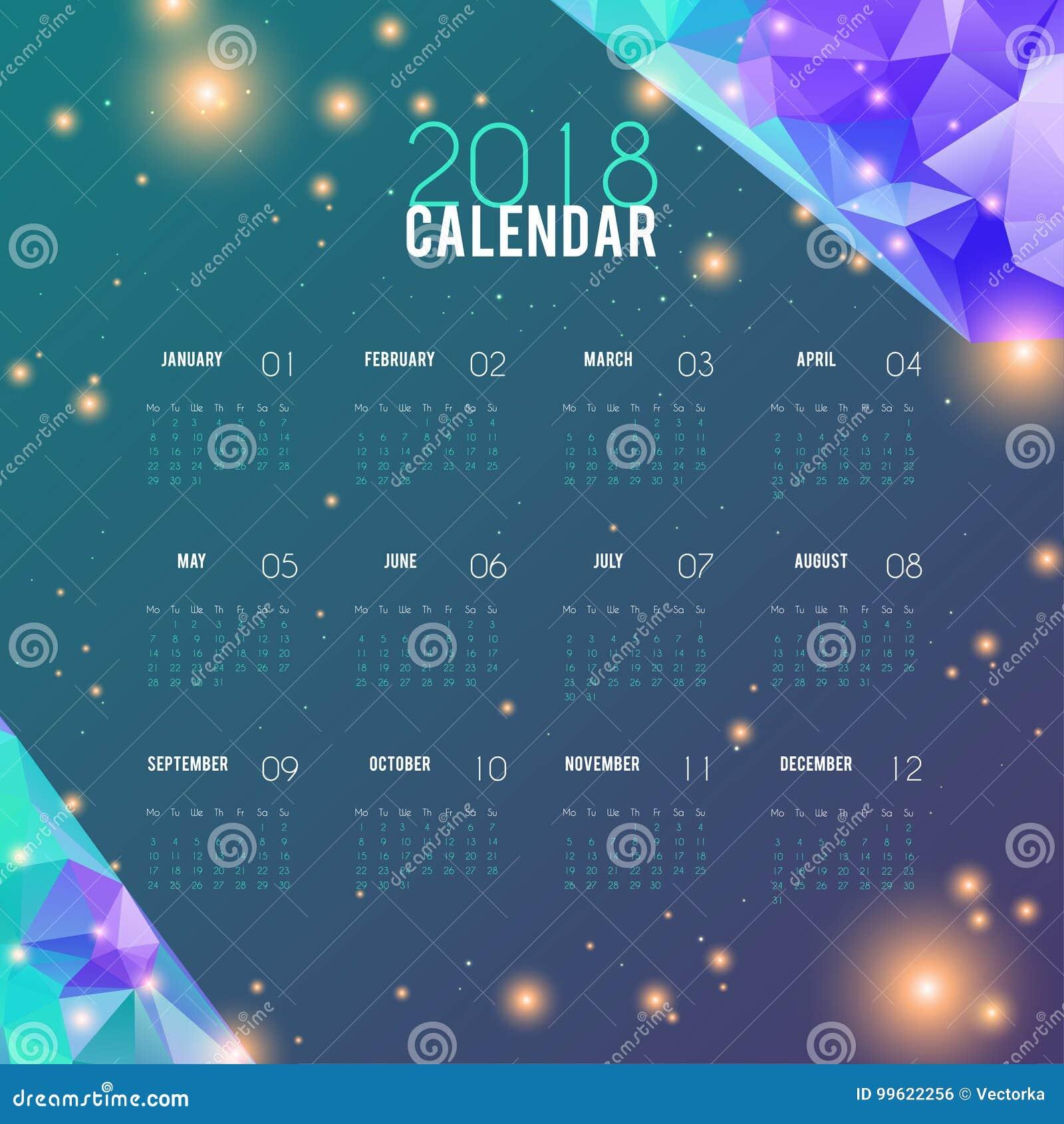 Abstraktes Design Des Kalenders 2018 Planerschablone, Stilvoller ...