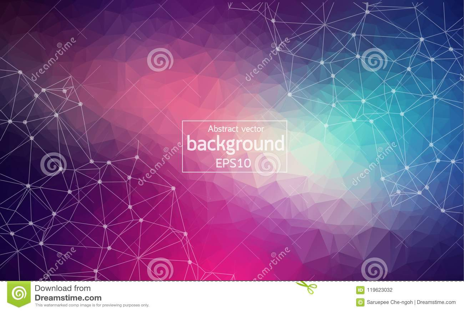Abstraktes dunkles purpurrotes helles geometrisches polygonales Hintergrundmolekül und -kommunikation Verbundene Linien mit Punkt