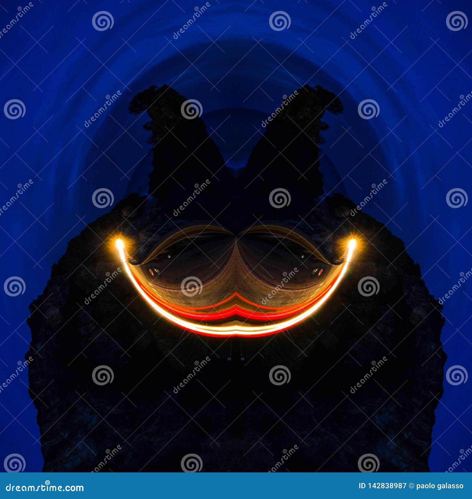 Abstraktes futuristisches ober Grafik des Gesichtslächelns grafisches tiefer blauer Hintergrund, dunkles Gesicht der Tapetenphant