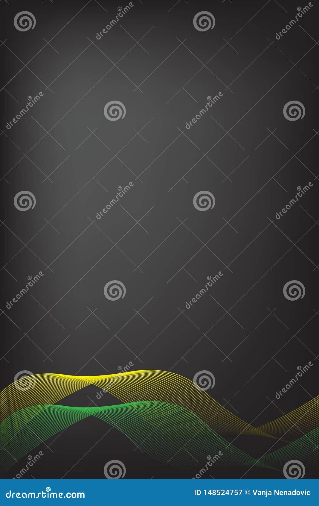 Abstraktes Gelb und Grüne Grenze mit schwarzem Unschärfehintergrund Brosch?renentwurf, Titelseiteschablonen-Vektorgraphikillustra