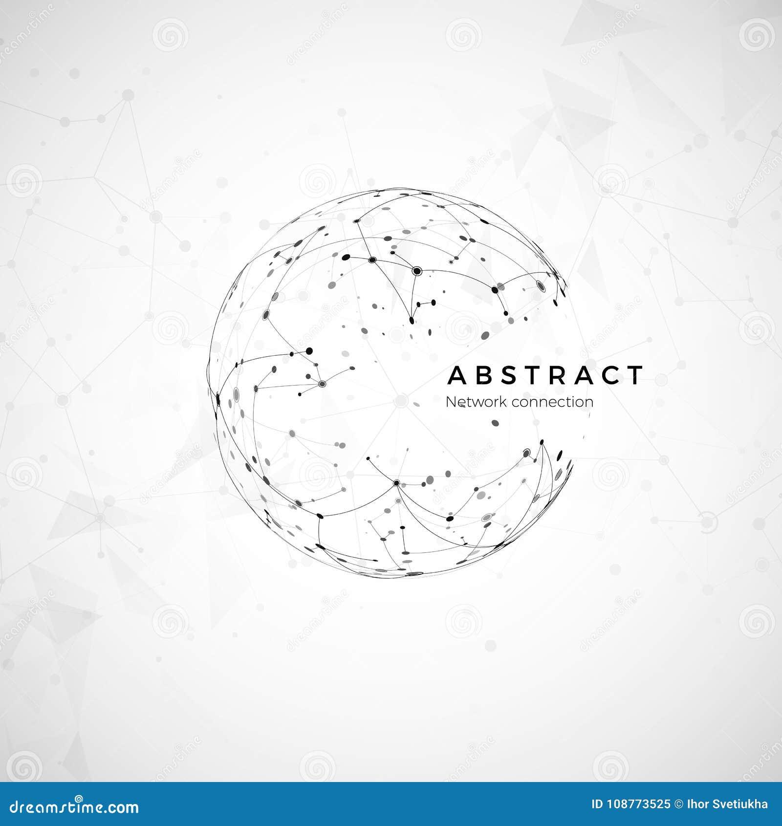 Abstraktes globales Netz Knoten und Kommunikation Kugeldigitales Nettomodellieren Sozialcomputerstruktur Vektor