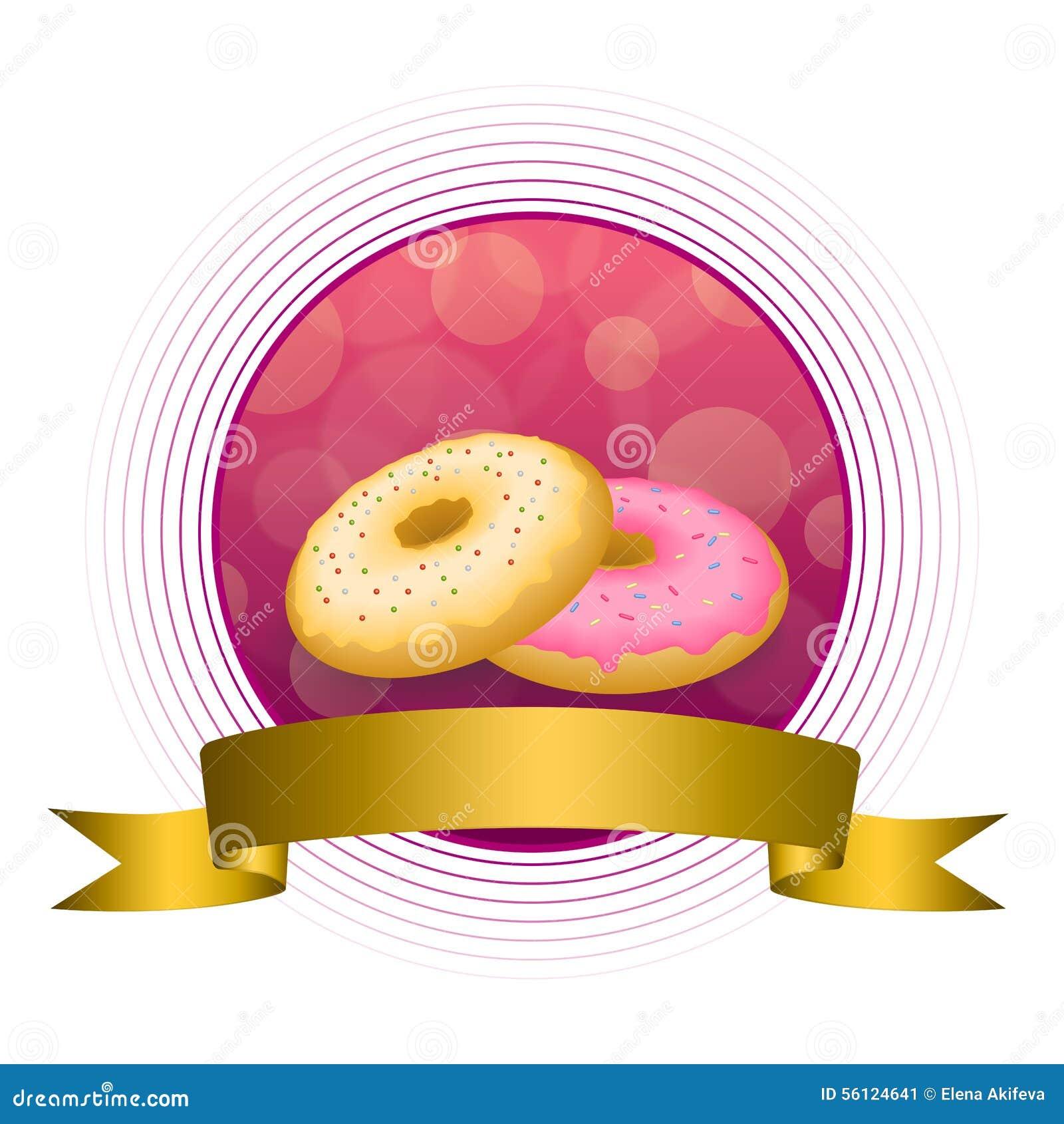 Abstraktes Hintergrundlebensmittel-Rosagelb backte Donut glasig-glänzende Ringgoldkreisrahmen-Bandillustration