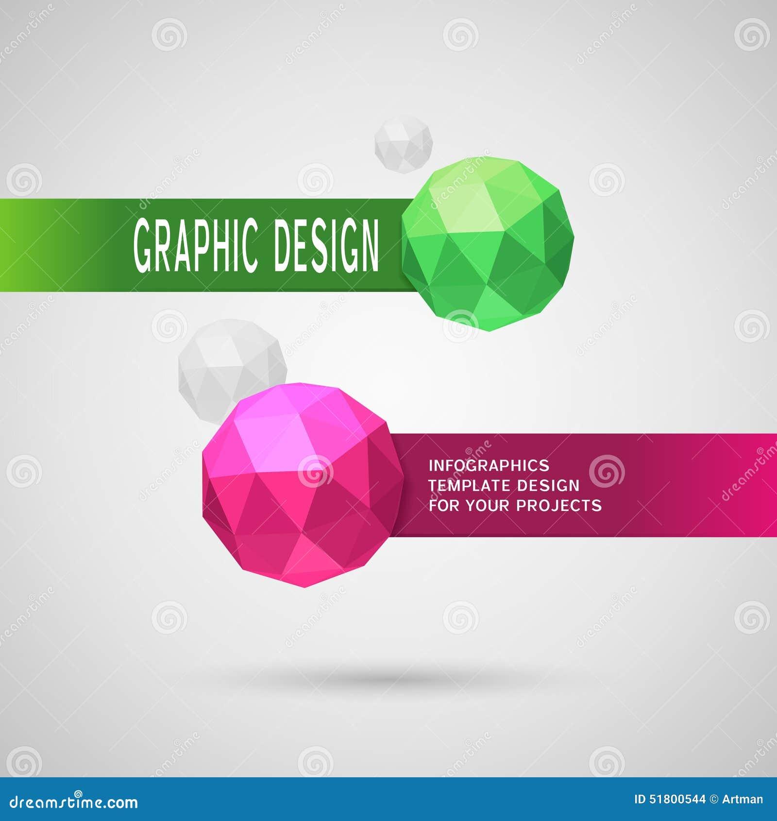 Abstraktes infographic Design mit zwei kugelförmigen Elementen