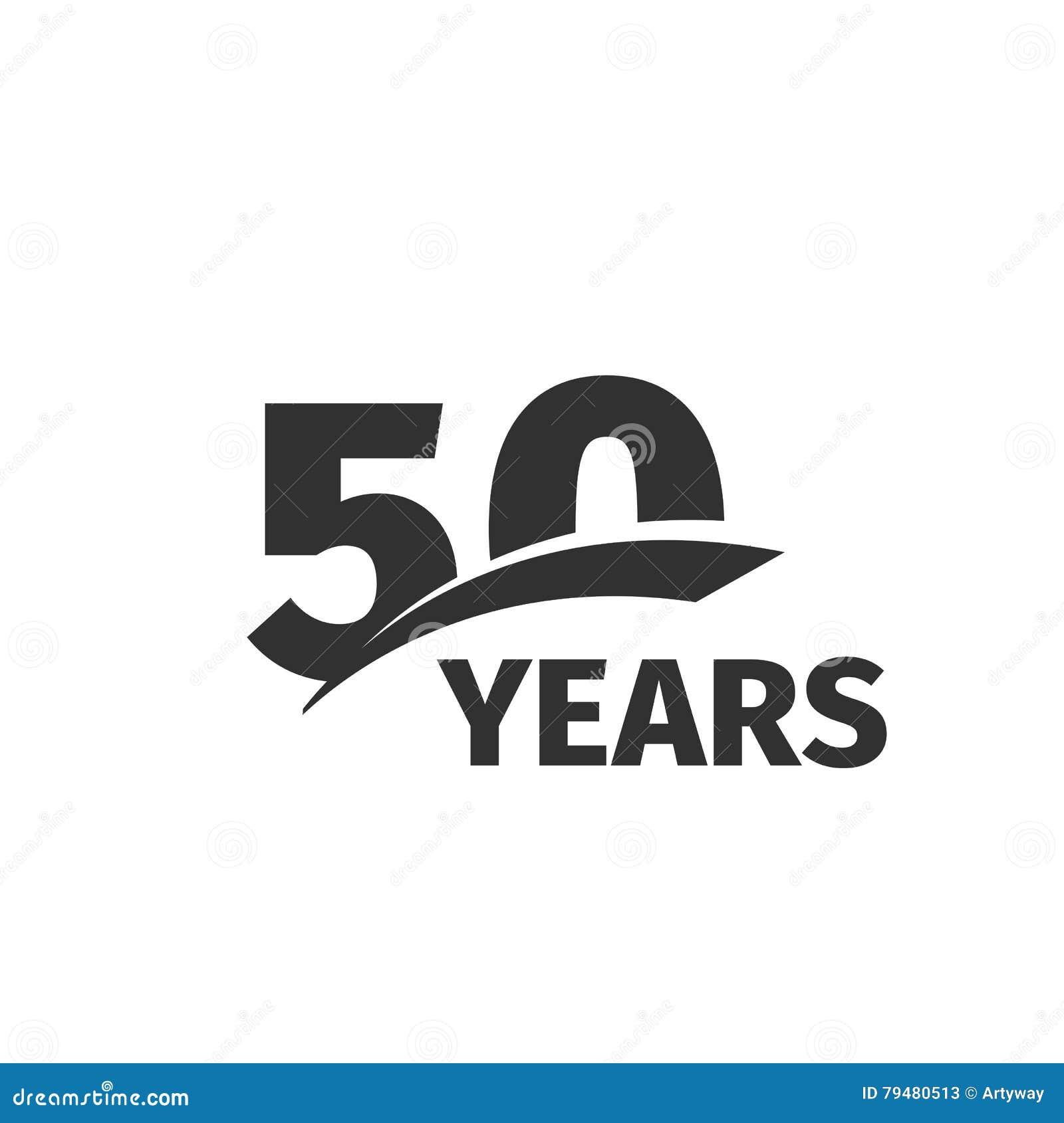 Abstraktes Jahrestagslogo des Schwarzen 50. auf weißem Hintergrund Firmenzeichen mit 50 Zahlen Fünfzig Jahre Jubiläumfeier