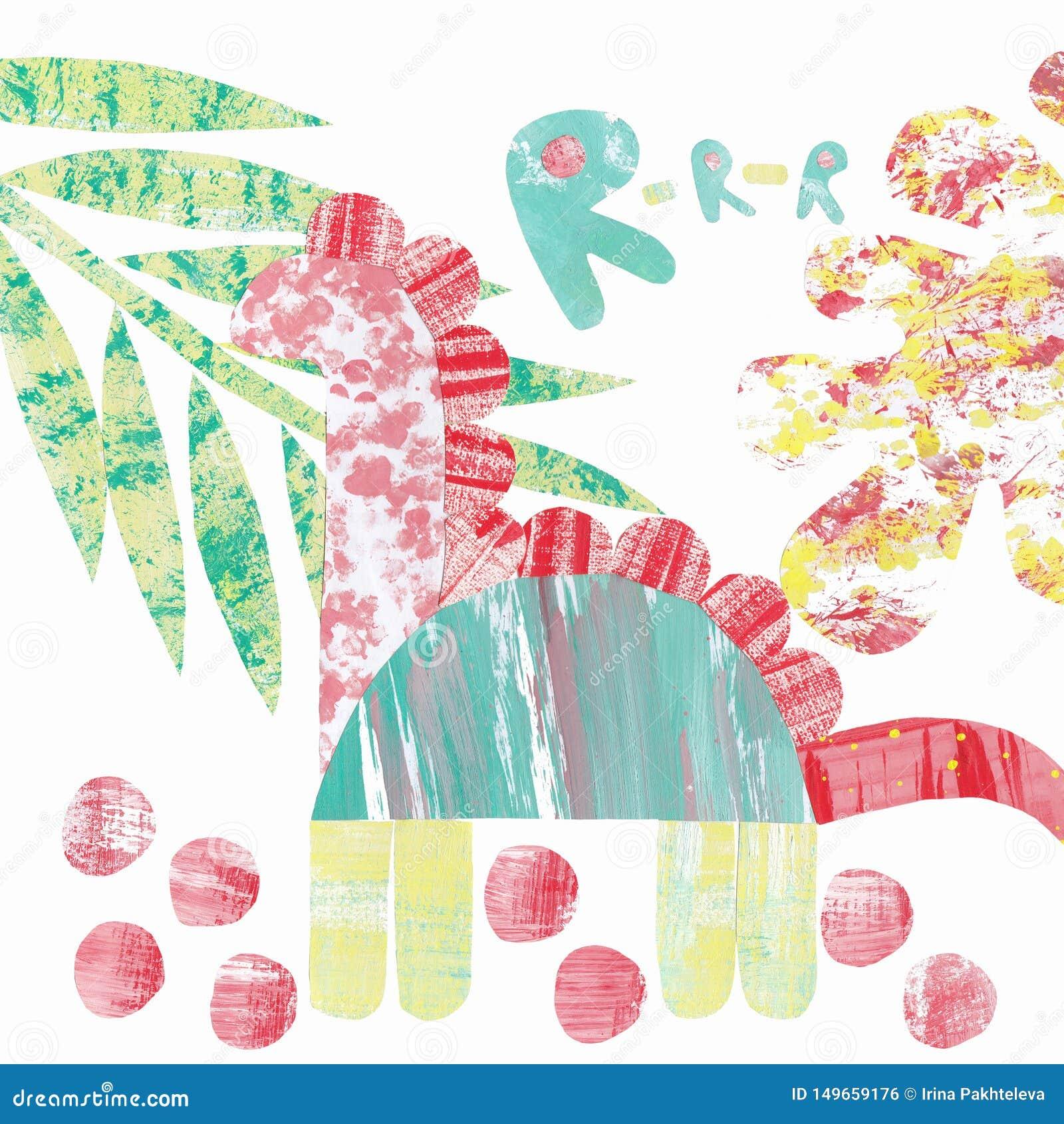 Abstraktes Muster mit einer Collage des mehrfarbigen Dinosauriers und der Bl?tter