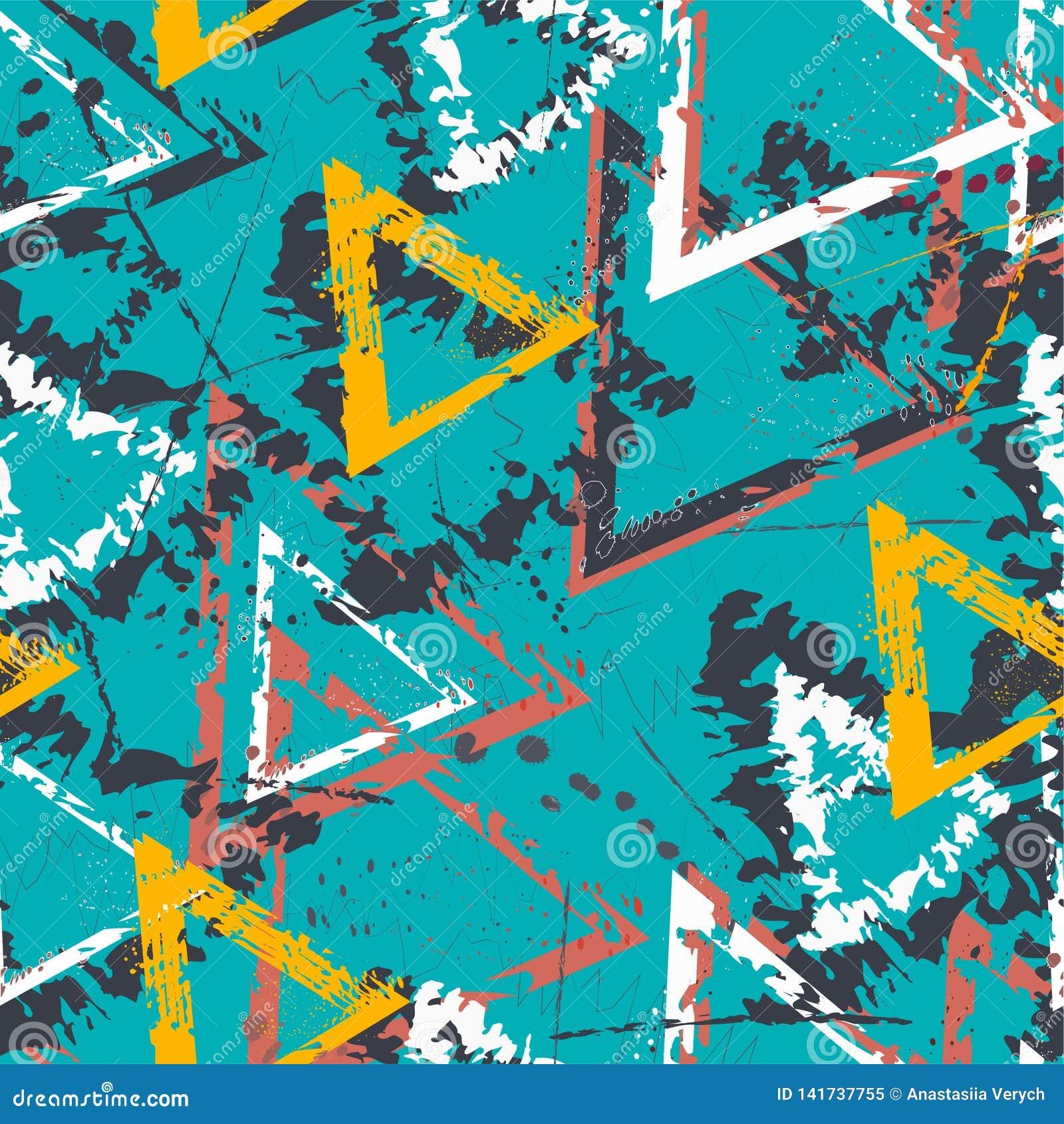Abstraktes nahtloses geometrisches Muster mit Dreiecken Schmutzmuster für Jungen, Mädchen, Sport, Mode Städtische bunte Tapete fü