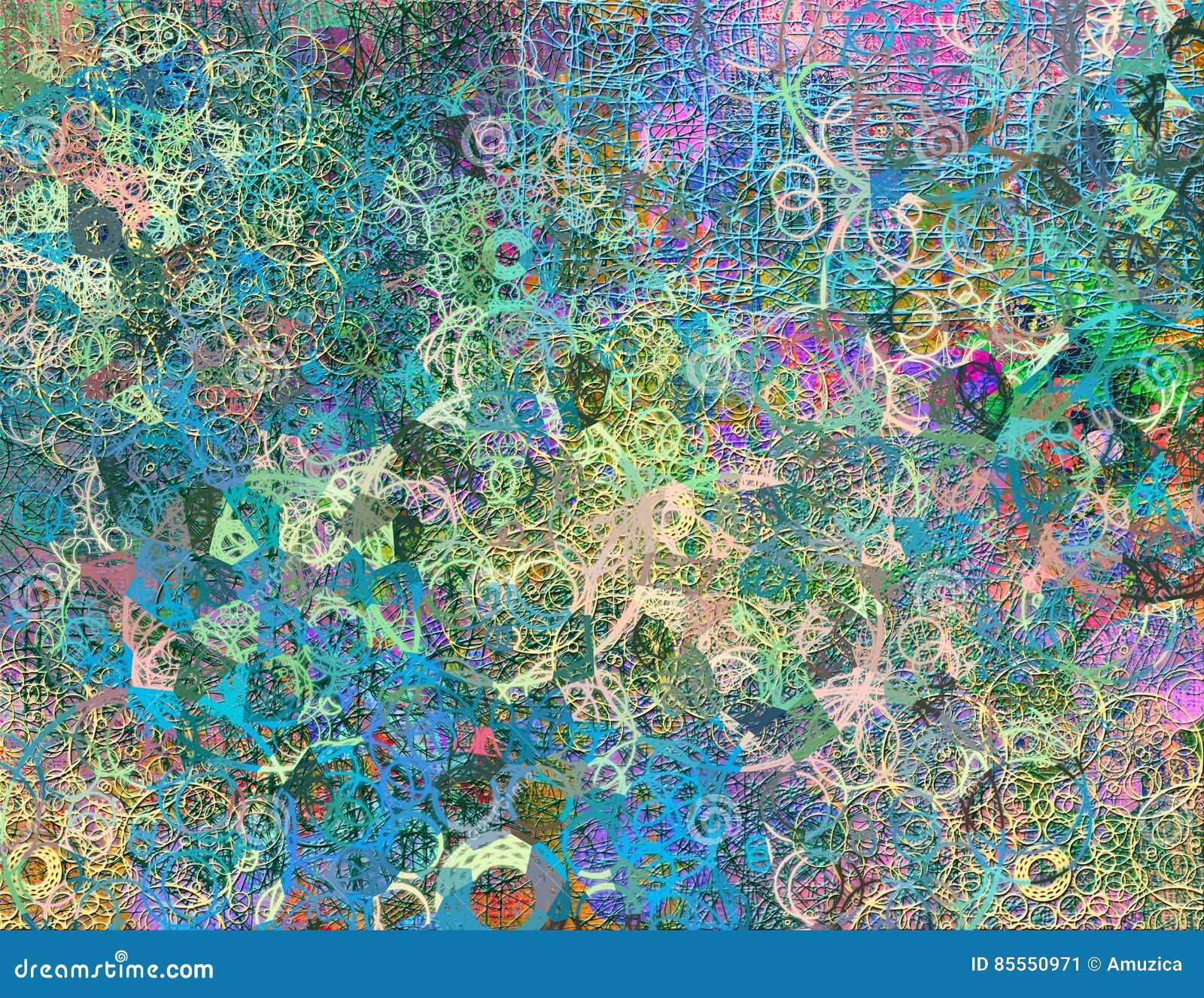 Abstraktes nahtloses Muster mit chaotischer Linie und verschiedenen Farbelementen