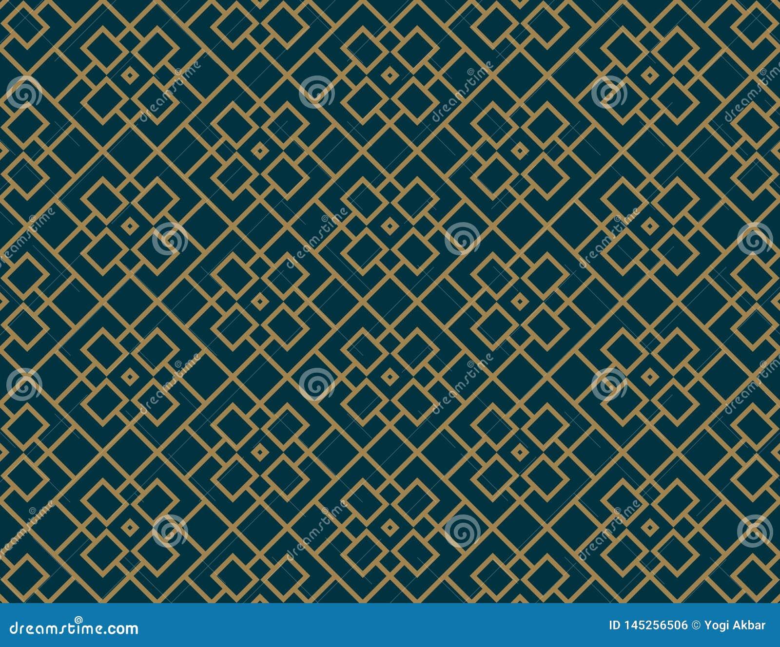 Abstraktes nahtloses Muster, Vector nahtloses Muster Wiederholen der geometrischen Verzierung Luxusgoldblaue Farbe