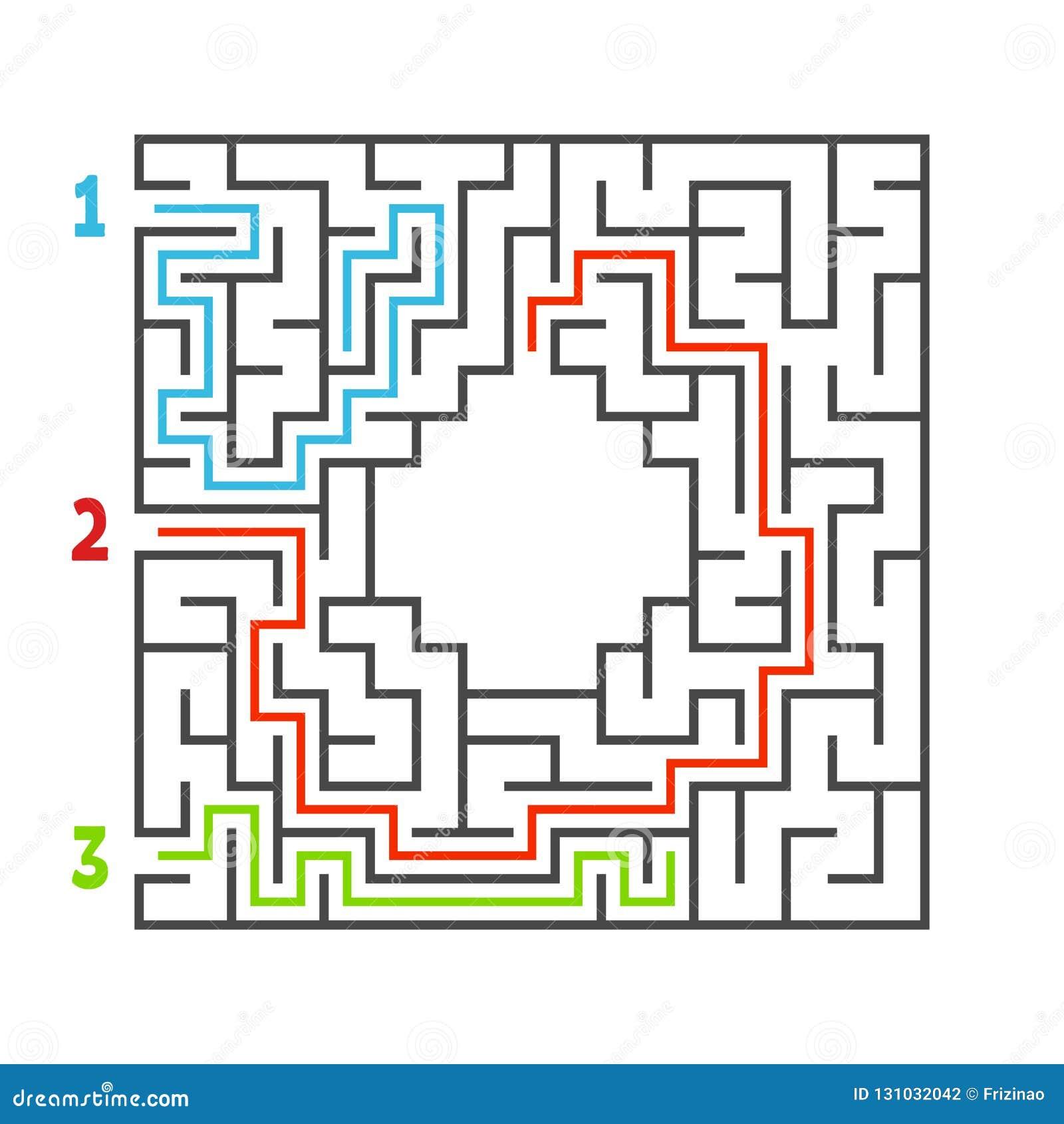 Abstraktes quadratisches Labyrinth Spiel für Kinder Puzzlespiel für Kinder Drei Eingang, ein Ausgang Labyrinthvexierfrage Flache