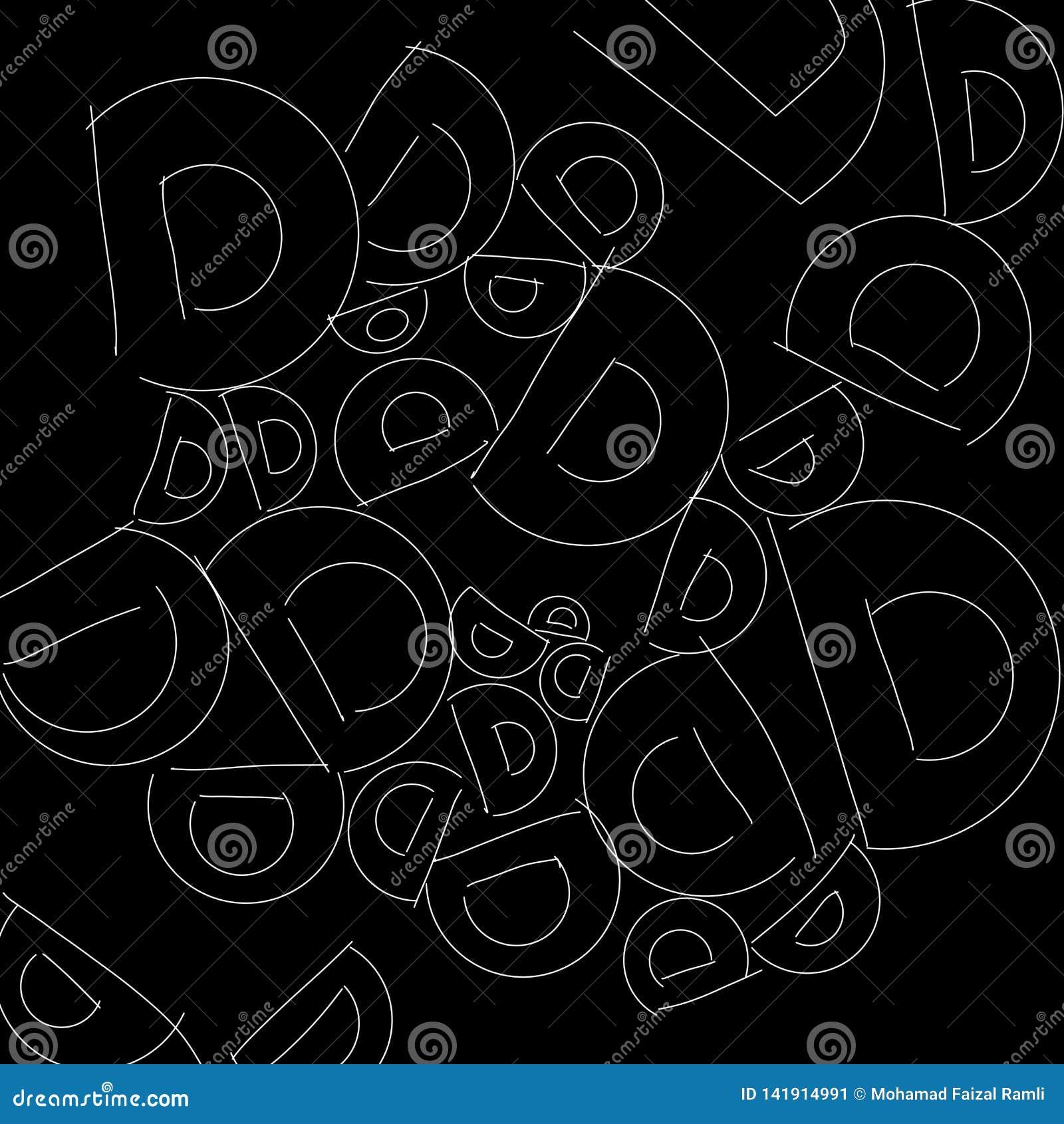 Abstraktes Schwarzweiss-Muster des Alphabetbuchstaben D als Illustrationshintergrund und -tapete