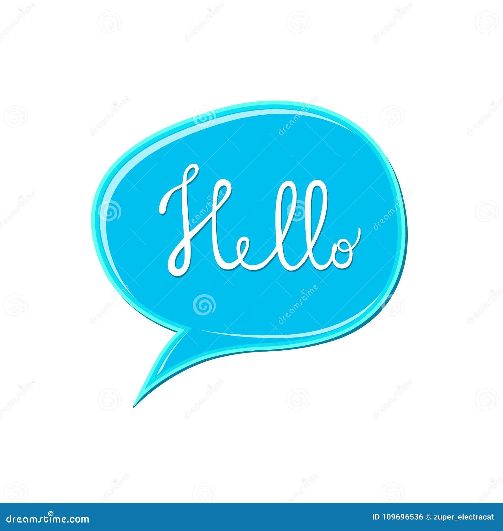 Abstraktes weißes ` hallo ` unterzeichnen vorbei blaue Spracheblasenikone Kaugummifleck auf weißem Hintergrund Farbfarbentropfen