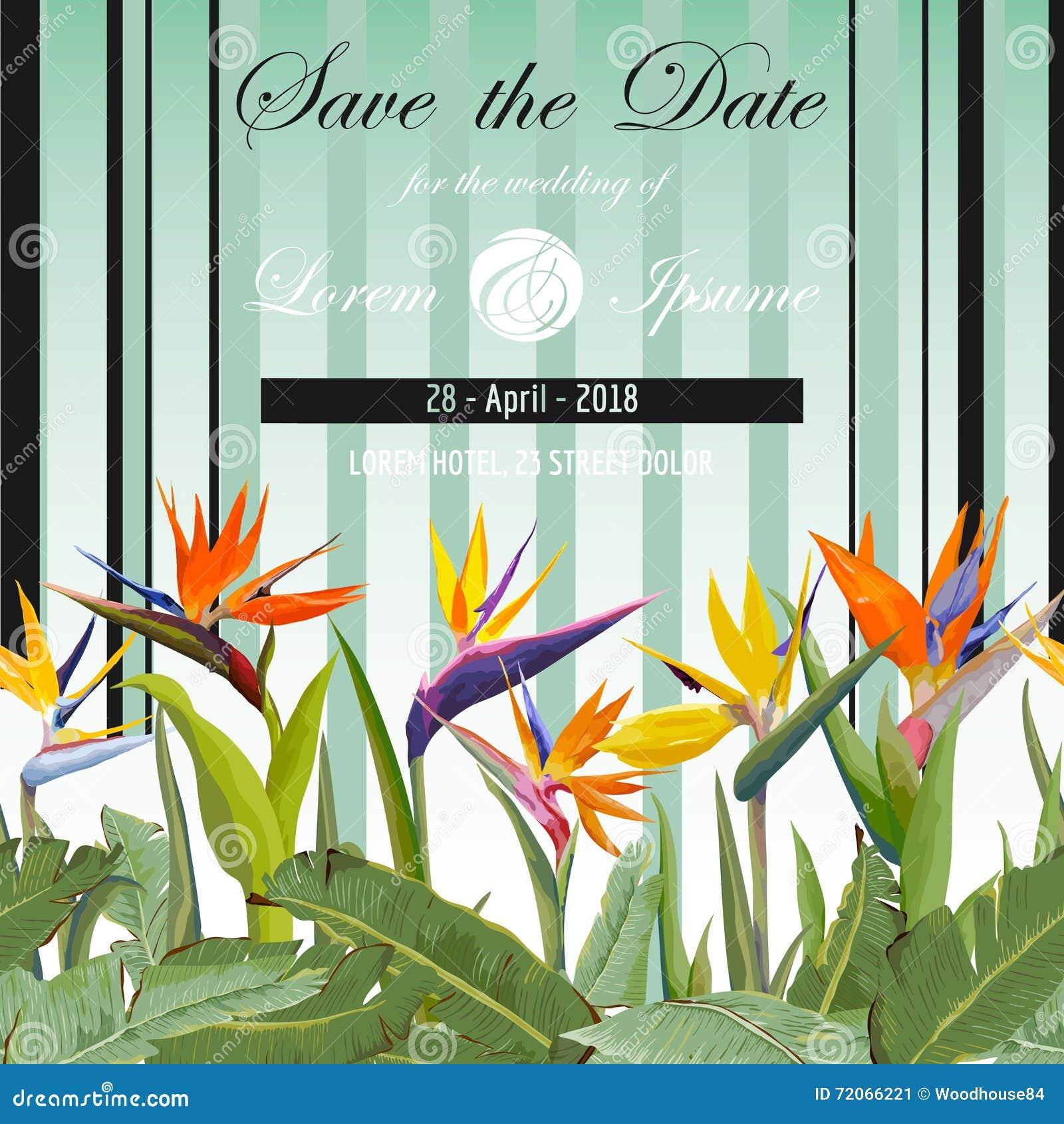 Abstraktionsabbildung Fur Hochzeit Tropische Blumen Tropische Karte